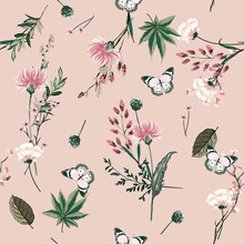 Beautiful Seamless Pattern Vector Blooming Botanical In Many Kind Of Plants Design For Fashion,fabric,wallpaper, And All Prints