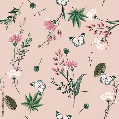Αφίσα  Beautiful seamless pattern vector blooming botanical in many kind of plants desi