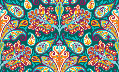 Foto auf AluDibond Boho-Stil Vector seamless colorful pattern in paisley style. Vintage decorative background. Hand drawn ornament. Oriental bohemian motifs. Wallpaper, fabric, wrapping paper print.