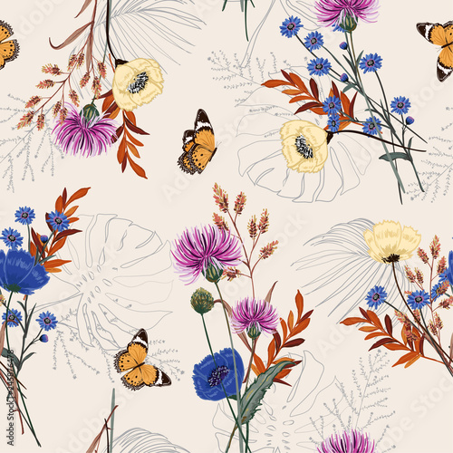 Cuadros en Lienzo Beautiful many kind of garden flower, plants ,botanical ,butterfly,seamless patt