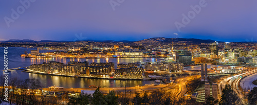 Oslo Norway Scandinavia, night aerial view panorama city skyline at business dis Wallpaper Mural