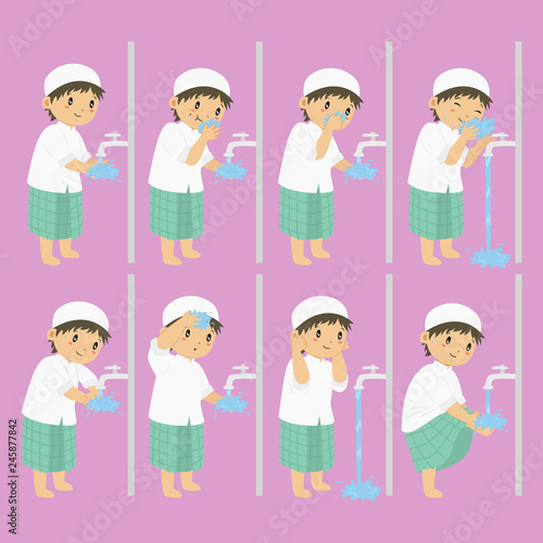 Obraz na plátne Muslim boy perform ablution steps, to clean self before prayer or shalat