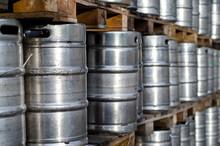 Many Metal Beer Kegs