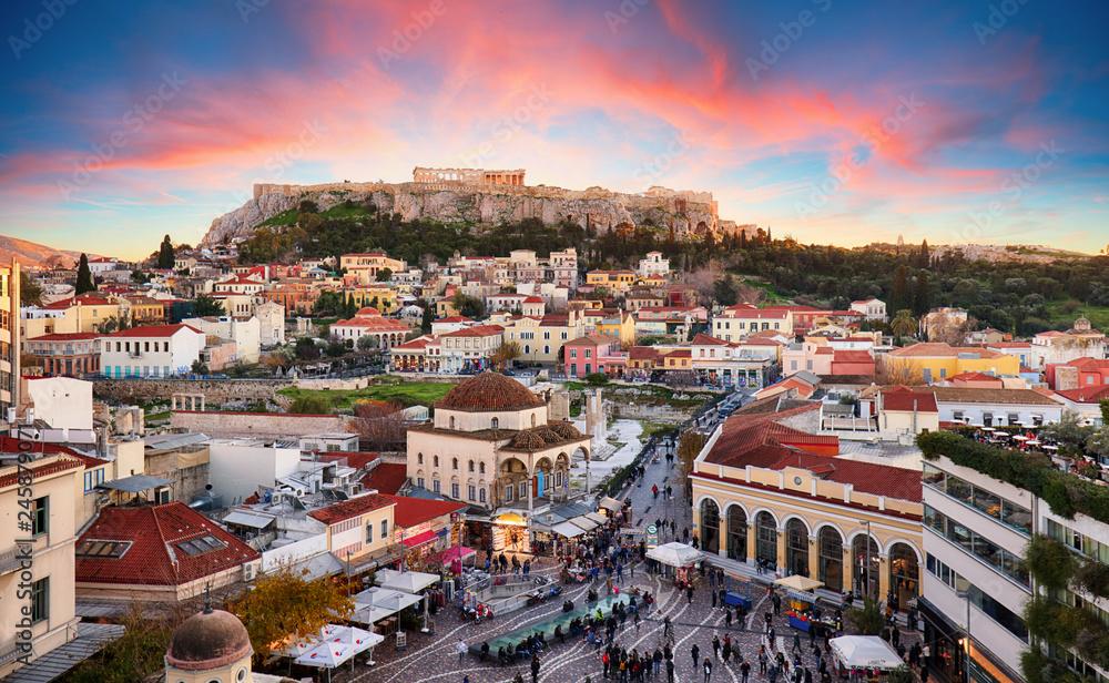 Fototapeta Athens, Greece -  Monastiraki Square and ancient Acropolis