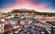 Athens, Greece -  Monastiraki Square and ancient Acropolis
