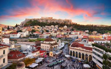 Atena, Grčka - Trg Monastiraki i drevna Akropola