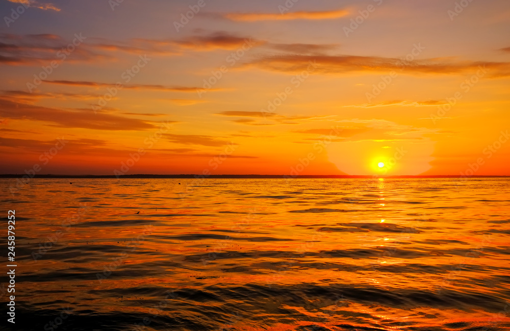Fototapety, obrazy: Beautiful fiery sunset sky on the beach. Composition of nature