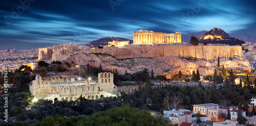In de dag Athene Parthenon of Athens at dusk time, Greece - long exposure