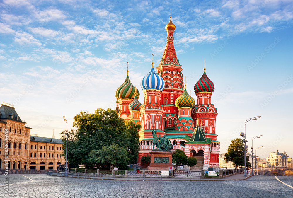 Fototapety, obrazy: Moscow, St. Basil's Cathedral in Red square, Russia