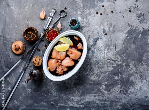 Marinated chicken meat