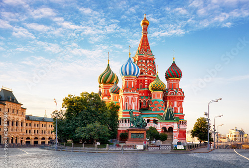 Poster Moskou Moscow, St. Basil's Cathedral in Red square, Russia