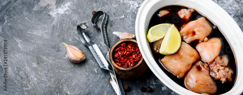 Marinated meat in soy sauce