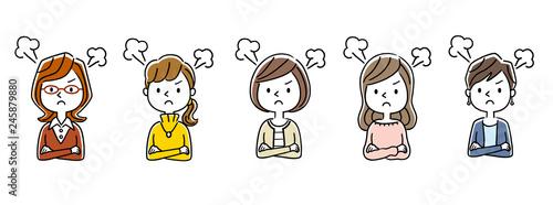 Photo 複数の女性:怒る、怒り