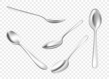 Set Of Realistic Metal Spoons