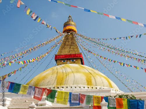 Stampa su Tela Boudhanath Stupa among of prayer flags, Kathmandu, Nepal