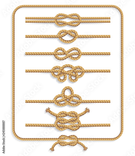 Obraz Rope knots collection. Vector illustrations. - fototapety do salonu