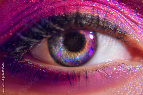 Türaufkleber Makrofotografie Beautiful eyes of the girl, space. Lenses for eye space. Cosmos in the eyes of the girl. Girl with trandy pink make up. Mysterious view. Magic eye. Panoramic looking into deep space. Wonam eyes love.