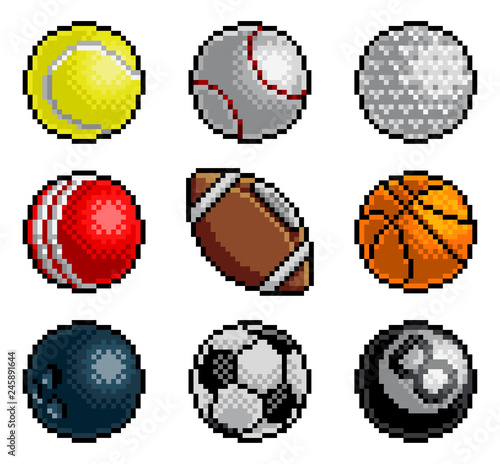 An 8 bit pixel art style video arcade game cartoon sports balls icon set Wallpaper Mural