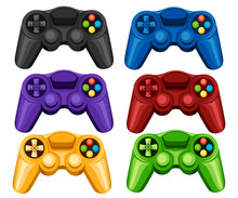 Set Of Colorful Wireless Game Pads. Video Game Controller. Gamepad For PC Or Console Gaming. Flat Vector Illustration Isolated On White Background