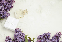 Perfume Bottle And White Gift ...