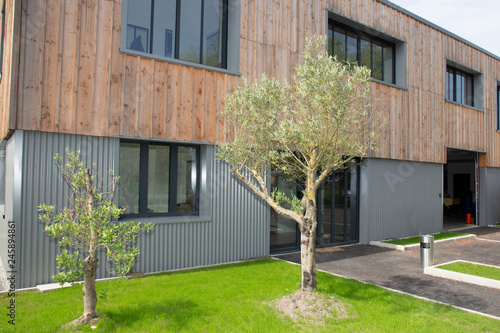 new build modern wood office building with warehouse Fototapete