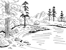 Mountain Lake Graphic Black White Landscape Sketch Illustration Vector