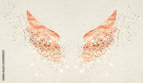 Foto op Aluminium Vlinders in Grunge Golden glitter on abstract pink watercolor wings in vintage nostalgic colors.