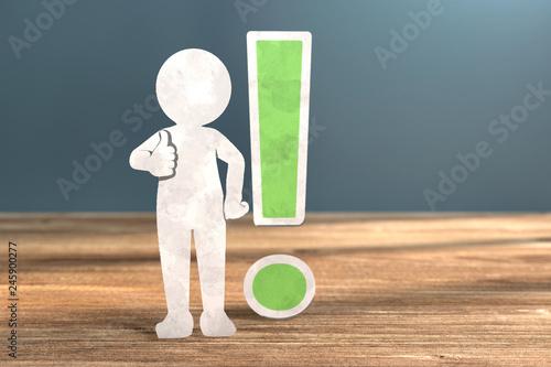 Photo 3D Illustration weißes Männchen aus Papier Ausrufezeichen