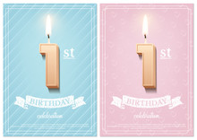 Burning Number 1 Birthday Candle With Vintage Ribbon And Birthday Celebration Text On Textured Blue And Pink Backgrounds In Postcard Format. Vector Vertical First Birthday Invitation Templates.