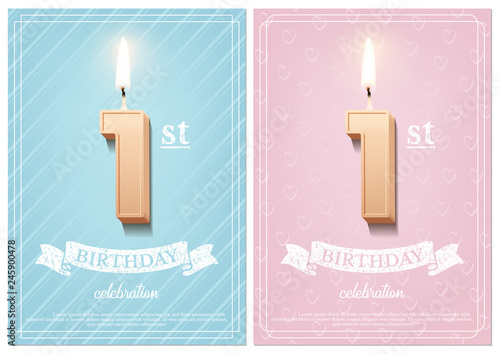 Obraz Burning number 1 birthday candle with vintage ribbon and birthday celebration text on textured blue and pink backgrounds in postcard format. Vector vertical first birthday invitation templates. - fototapety do salonu