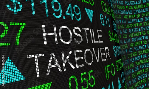 Fotografie, Obraz  Hostile Takeover Share Buyout Stock Market Ticker Words 3d Illustration