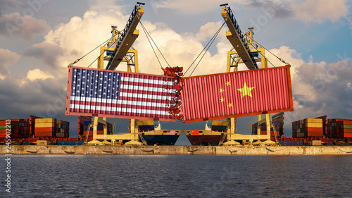 Obraz Concept of trade confrontation between China and USA. The landing of containers with US and Chinese flags. Rendering 3d - fototapety do salonu
