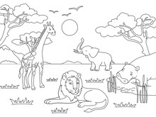 Children Drawing. Animals Of A...