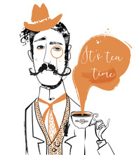Cartoon Gentleman With Tea Cup