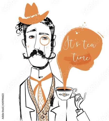 Foto cartoon gentleman with tea cup