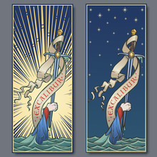 Hand Holding A Sword Emerges From The Water. Iconic Scene From The Medieval European Stories About King Arthur. Vintage Color Palette. Set Of 2 Vertical Posters. EPS10 Vector Illustration