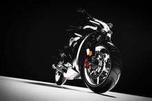 Motorcycle On Black Background.