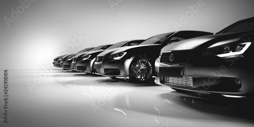 Fotografiet  Black sedan cars standing in a row.
