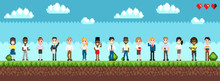 Character Selection For Playing Game, Standing Men And Women On Green Landscape With Bushes. Pixel Art Illustration With Cloudy Sky And Hearts Vector
