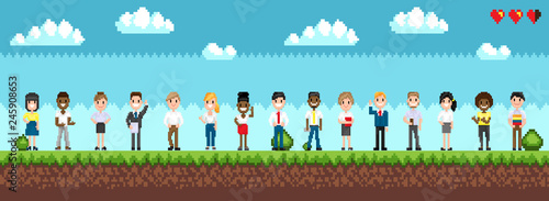 Plakat Character selection for playing game, standing men and women on green landscape with bushes. Pixel art illustration with cloudy sky and hearts vector