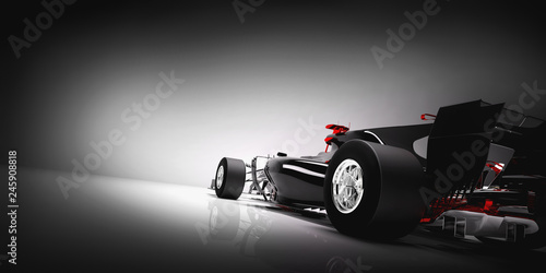 In de dag F1 Back of F1 car on light background.