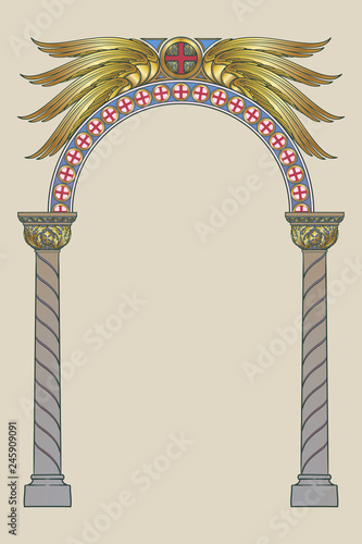 Photo Early medieval Byzantine style round arch