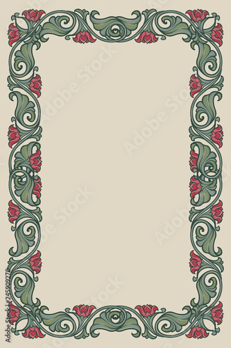 Floral rectangular frame. Fairy tale style decorative border. Vertical orientation. Vintage color palette. Hand drawn image isolated on monochrome background. EPS10 vector illustration - 245909270