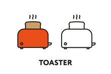 Red Toaster Bread Vector Flat ...