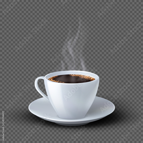 White realistic coffee cup with smoke isolated on transparent background. Coffee cup beverage, cafe breakfast illustration