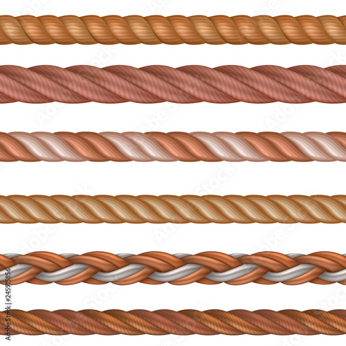 Foto Realistic seamless rope and nautical cables vector set isolated on white background