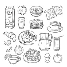 Breakfast Doodle. Sandwich Bread Toast Egg Butter, Morning Coffee And Cheese Sketch Healthy Food Vintage Vector Set. Sandwich And Coffee To Breakfast, Toast And Egg Illustration