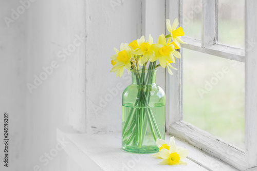 Stickers pour porte Narcisse spring flowers on windowsill