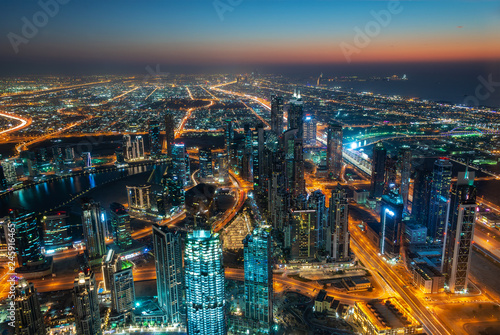 Aerial view of Dubai at night seen from Burj Khalifa tower, United Arab Emirates