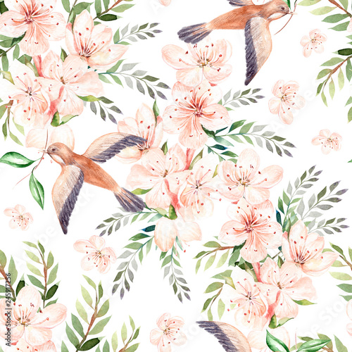 Fotografie, Obraz  Watercolor pattern with spring flowers, eucalyptus leaves and birds